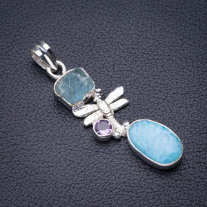 "StarGems Natural Caribbean Larimar,Rough Aquamarine And Amethyst Dragonfly Handmade 925 Sterling Silver Pendant 2"" D5383"