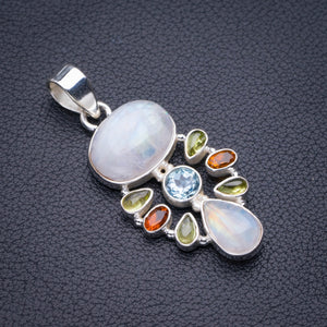 "StarGems Natural Rainbow Moonstone,Prehnite,Blue Topaz And Citrine Handmade 925 Sterling Silver Pendant 1.75"" D5419"