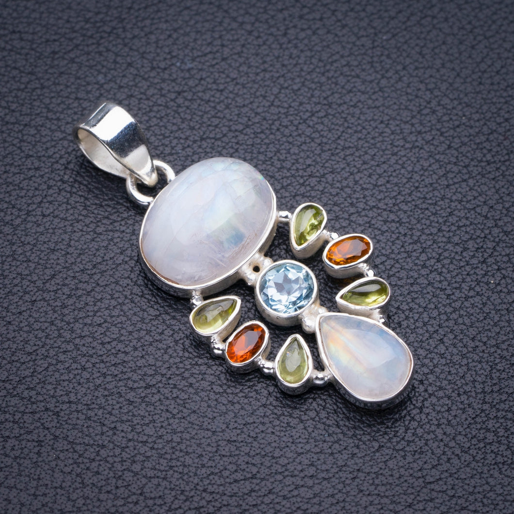 StarGems Natural Rainbow Moonstone,Prehnite,Blue Topaz And Citrine Handmade 925 Sterling Silver Pendant 1.75