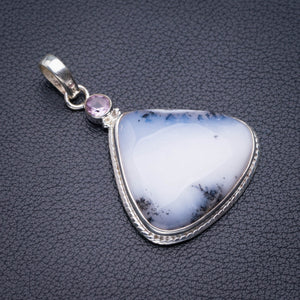 "StarGems Natural Dendritic Opal And Amethyst Handmade 925 Sterling Silver Pendant 1.75"" D5488"