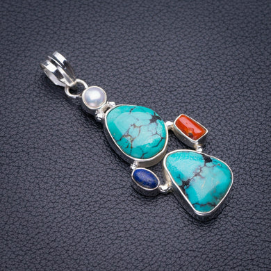 StarGems Natural Tibetan Turquoise,Red Coral,Lapis Lazuli And River Pearl Handmade 925 Sterling Silver Pendant 2