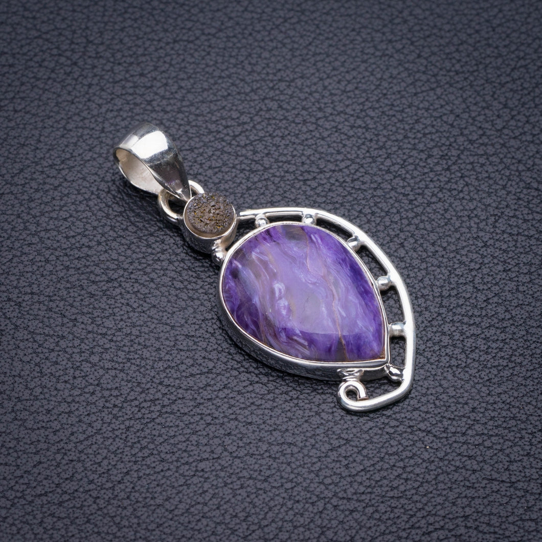 StarGems Natural Charoite And Titanium Handmade 925 Sterling Silver Pendant 1.75