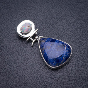 "StarGems Natural Navy Sodalite And Opal Handmade 925 Sterling Silver Pendant 1.75"" D5590"