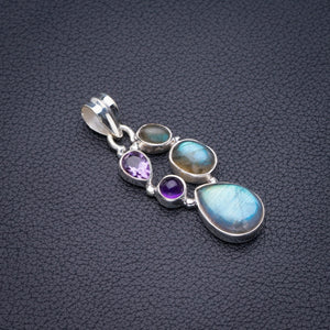 "StarGems Natural Blue Fire Labradorite And Amethyst Handmade 925 Sterling Silver Pendant 1.75"" D5647"