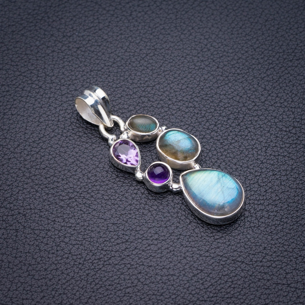StarGems Natural Blue Fire Labradorite And Amethyst Handmade 925 Sterling Silver Pendant 1.75