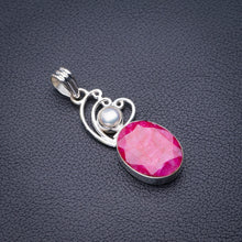 "StarGems Natural Cherry Ruby And River Pearl Handmade 925 Sterling Silver Pendant 2"" D5765"