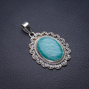 "StarGems Natural Amazonite Handmade 925 Sterling Silver Pendant 1.75"" D5828"