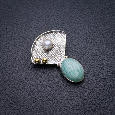 StarGems Natural Two Otnes Amazonite And River Pearl Handmade 925 Sterling Silver Pendant 1.25