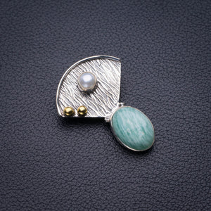"StarGems Natural Two Otnes Amazonite And River Pearl Handmade 925 Sterling Silver Pendant 1.25"" D5830"