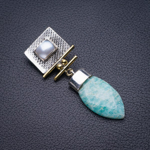 "StarGems Natural Two Otnes Amazonite And River Pearl Handmade 925 Sterling Silver Pendant 2"" D5833"