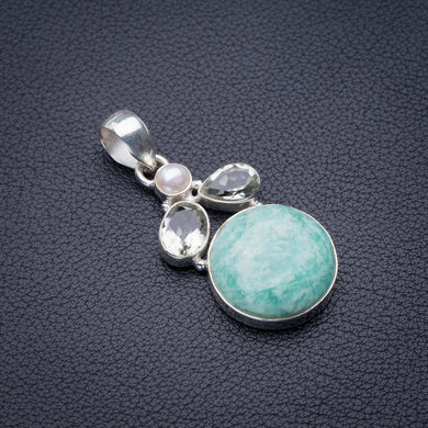 StarGems Natural Amazonite,White Topaz And River Pearl Handmade 925 Sterling Silver Pendant 1.75