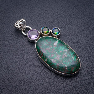 "StarGems Natural Chrysocolla,Amethyst And Mystical Topaz Handmade 925 Sterling Silver Pendant 2.25"" D5838"