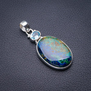 "StarGems Natural Chrysocolla And Blue Topaz Handmade 925 Sterling Silver Pendant 2"" D5839"
