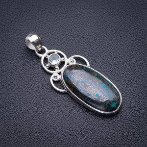 "StarGems Natural Chrysocolla And Blue Topaz Handmade 925 Sterling Silver Pendant 2.25"" D5840"