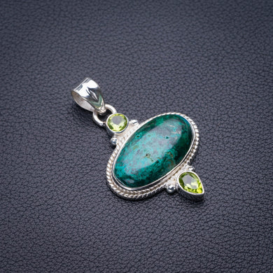 StarGems Natural Chrysocolla And Peridot Handmade 925 Sterling Silver Pendant 1.75