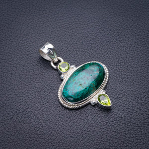 "StarGems Natural Chrysocolla And Peridot Handmade 925 Sterling Silver Pendant 1.75"" D5841"