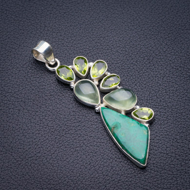 StarGems Natural Chrysocolla,Prehnite And Peridot Handmade 925 Sterling Silver Pendant 2.5