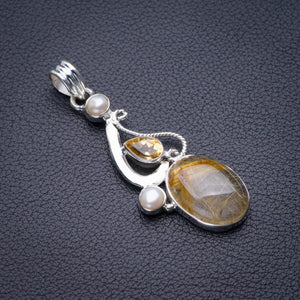 "StarGems Natural Golden Rutile,Citrine And River Pearl Handmade 925 Sterling Silver Pendant 2"" D5857"