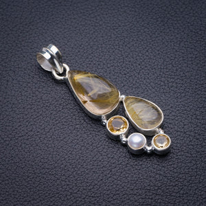 "StarGems Natural Golden Rutile,Citrine And River Pearl Handmade 925 Sterling Silver Pendant 2"" D5860"
