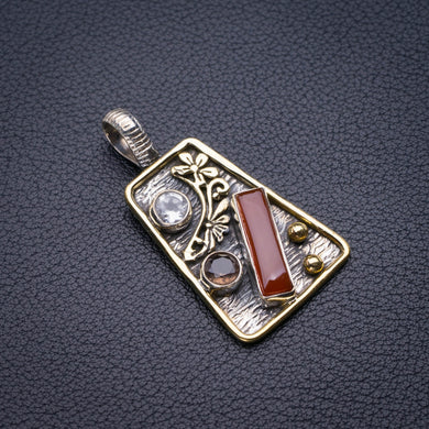 StarGems Natural Two Tones Carnelian,White Topaz And Smoky Quartz Flower Handmade 925 Sterling Silver Pendant 1.5