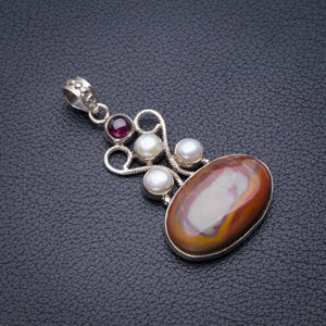 "StarGems Natural Imperial Jasper,River Pearl And Amethyst Handmade 925 Sterling Silver Pendant 2"" D5897"