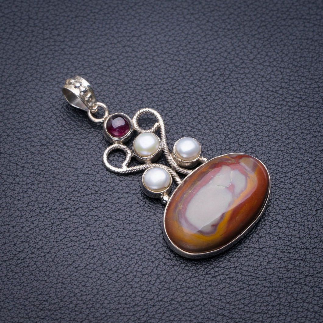 StarGems Natural Imperial Jasper,River Pearl And Amethyst Handmade 925 Sterling Silver Pendant 2