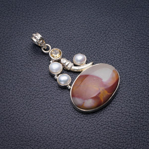 "StarGems Natural Imperial Jasper,River Pearl And Citrine Handmade 925 Sterling Silver Pendant 1.75"" D5898"