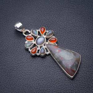 "StarGems Natural Cuprite Blood Stone,Labradorite And Carnelian Handmade 925 Sterling Silver Pendant 2.25"" D5967"