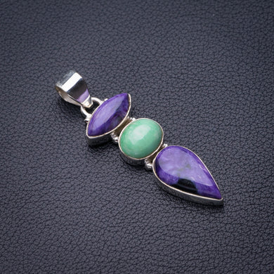 StarGems Natural Charoite And Green Opal Handmade 925 Sterling Silver Pendant 2
