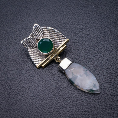 StarGems Natural Two Tones Moss Agate And Chrysoprase Handmade 925 Sterling Silver Pendant 2