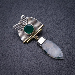 "StarGems Natural Two Tones Moss Agate And Chrysoprase Handmade 925 Sterling Silver Pendant 2"" D5984"