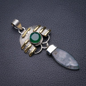 "StarGems Natural Two Tones Moss Agate And Chrysoprase Handmade 925 Sterling Silver Pendant 2.5"" D5985"