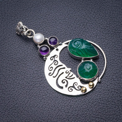StarGems Natural Carved Chrysoprase,Amethyst And River Pearl Moon Handmade 925 Sterling Silver Pendant 2