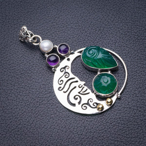 "StarGems Natural Carved Chrysoprase,Amethyst And River Pearl Moon Handmade 925 Sterling Silver Pendant 2"" D6022"