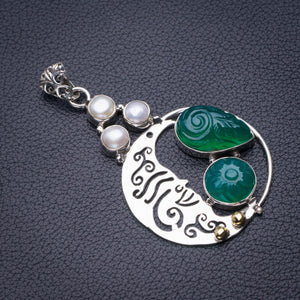 "StarGems Natural Carved Chrysoprase And River Pearl Handmade 925 Sterling Silver Pendant 2.25"" D6023"