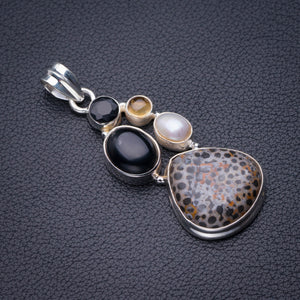 "StarGems Natural Stingray Coral,Black Onyx,River Pearl And Citrine Handmade 925 Sterling Silver Pendant 2"" D6032"