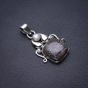 "StarGems Natural Stingray Coral And River Pearl Beetle Handmade 925 Sterling Silver Pendant 1.5"" D6033"