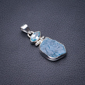 "StarGems Natural Rough Aquamarine And Blue Topaz Handmade 925 Sterling Silver Pendant 1.5"" D6043"