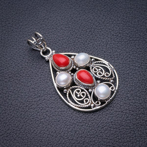 "StarGems Natural Red Coral And River Pearl Handmade 925 Sterling Silver Pendant 1.75"" D6058"