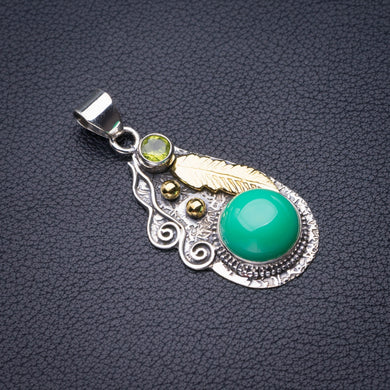 StarGems Natural Two Tones Green Opal Feather Handmade 925 Sterling Silver Pendant 1.75