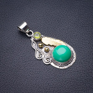 "StarGems Natural Two Tones Green Opal Feather Handmade 925 Sterling Silver Pendant 1.75"" D6062"