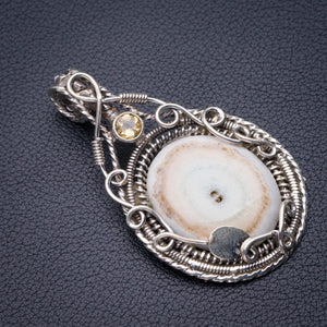 "StarGems Natural Japser And Citrine Handmade 925 Sterling Silver Pendant 2.25"" D6097"