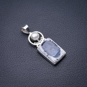 "StarGems Natural Dendritic Opal And River Pearl Handmade 925 Sterling Silver Pendant 1.75"" D6110"
