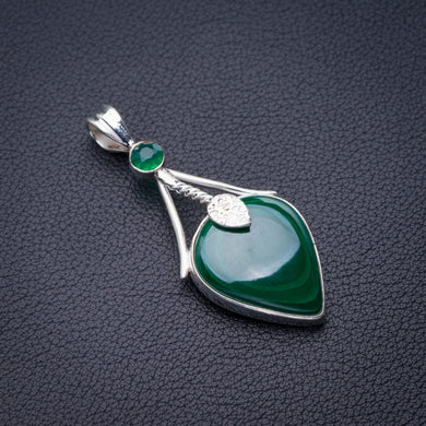 StarGems Natural Malachite And Chrysoprase Handmade 925 Sterling Silver Pendant 2