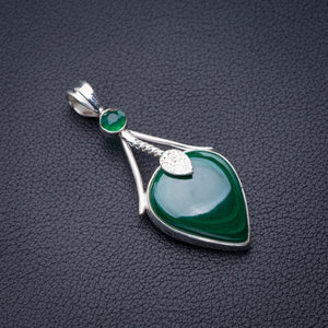 "StarGems Natural Malachite And Chrysoprase Handmade 925 Sterling Silver Pendant 2"" D6126"