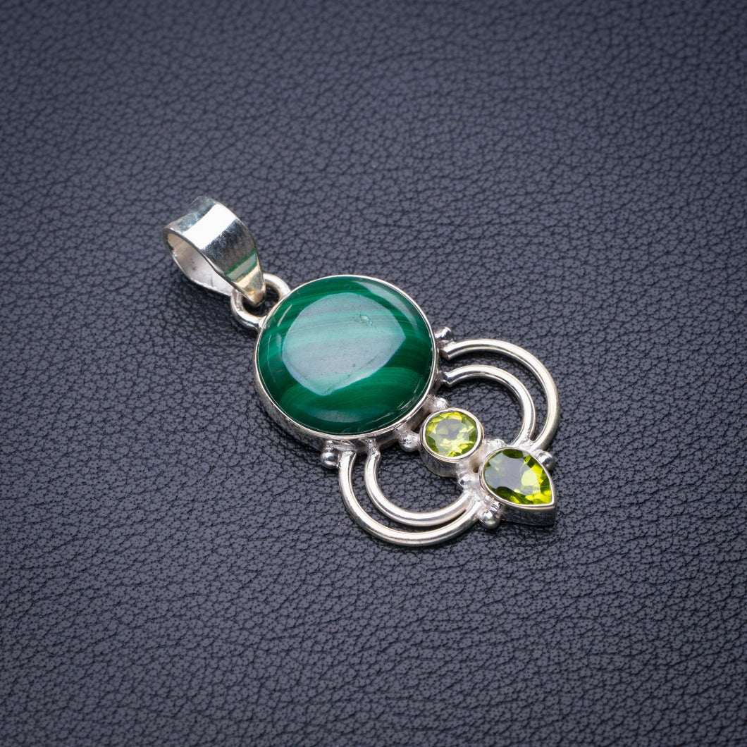 StarGems Natural Malachite And Peridot Handmade 925 Sterling Silver Pendant 1.57