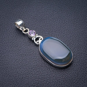 "StarGems Natural Chalcedony And Amethyst Handmade 925 Sterling Silver Pendant 2"" D6151"