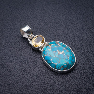 StarGems Natural Copper Turquoise And Citrine Handmade 925 Sterling Silver Pendant 1.75