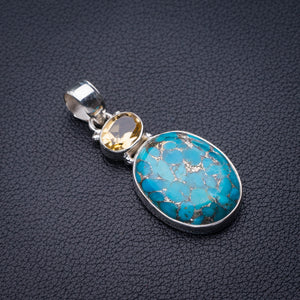 "StarGems Natural Copper Turquoise And Citrine Handmade 925 Sterling Silver Pendant 1.75"" D6168"
