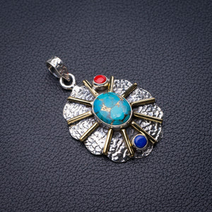 "StarGems Natural Two Tones Copper Turquoise,Red Coral And Lapis Lazuli Handmade 925 Sterling Silver Pendant 1.75"" D6170"